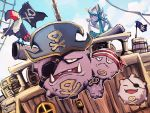 bandana barrel clouds day dhelmise eyepatch fangs flag gen_1_pokemon gen_7_pokemon hat koffing levitate_(pokemon) no_humans one_eye_closed outdoors pirate_hat pokemon pokemon_(creature) ship sky toucannon watercraft weezing yottur