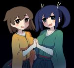 2girls bangs black_background blue_eyes blue_hair blush breasts brown_eyes brown_hair eyebrows_visible_through_hair hair_ribbon hakama highres hiryuu_(kantai_collection) holding_hands japanese_clothes kantai_collection kimono large_breasts long_hair multiple_girls open_mouth ribbon short_hair simoyuki simple_background souryuu_(kantai_collection) twintails wide_sleeves