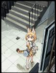 1girl animal_ears bag bangs bare_legs bare_shoulders barefoot border bow bowtie commentary_request elbow_gloves extra_ears eyebrows_visible_through_hair finger_to_mouth from_above full_body gloves hair_between_eyes high-waist_skirt holding holding_stuffed_toy i_love_serval japari_symbol kemono_friends looking_to_the_side medium_hair oekaki orange_hair print_bow print_gloves print_skirt serval_(kemono_friends) serval_ears serval_print serval_tail shirt shoes shoulder_bag sign single_shoe skirt solo stairs standing stuffed_animal stuffed_toy tail tile_floor tiles yellow_eyes