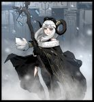 1girl black_border black_cloak black_gloves blue_eyes border circlet cloak curled_horns gloves gogalking grey_hair hair_tubes hairband highres holding holding_staff horns long_hair looking_at_viewer low-tied_long_hair original outdoors parted_lips sheep_girl_(gogalking) sheep_horns smile snow solo staff standing