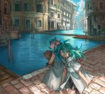 2girls :d ahoge bag bike_shorts blue_hair blue_sailor_collar canal clouds cloudy_sky day dress green_eyes green_hair groceries grocery_bag highres holding holding_bag house looking_at_viewer multiple_girls open_mouth outdoors paper_bag parted_lips sailor_collar sailor_dress shichigatsu shopping_bag sky smile standing town white_dress