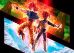 2boys armor aura closed_mouth dougi dragon_ball dragon_ball_super dragon_ball_super_broly finger_gun floating full_body glacier gloves highres male_focus mattari_illust multiple_boys open_hand red_eyes redhead smile son_gokuu spiky_hair super_saiyan super_saiyan_god torn_clothes vegeta white_footwear white_gloves
