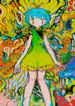 1girl abstract abstract_background aqua_hair bare_legs colorful dress eternity_larva eyebrows_visible_through_hair feet_out_of_frame green_dress hito_(nito563) looking_at_viewer no_nose sleeveless sleeveless_dress solo touhou