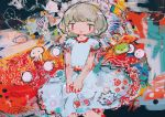 1girl abstract abstract_background bangs ebisu_eika feet_out_of_frame hito_(nito563) light_blue_dress open_mouth platinum_blonde_hair puffy_short_sleeves puffy_sleeves red_eyes short_hair short_sleeves smile solo touhou