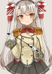 1girl amatsukaze_(kantai_collection) buttons cocoperino commentary_request cosplay cowboy_shot epaulettes frilled_sleeves frills gloves grey_background grey_skirt hair_tubes highres jacket kantai_collection kashima_(kantai_collection) kashima_(kantai_collection)_(cosplay) long_hair long_sleeves looking_at_viewer military military_jacket military_uniform neckerchief pleated_skirt red_neckwear riding_crop silver_hair simple_background skirt smile smokestack_hair_ornament solo two_side_up uniform white_gloves white_jacket windsock yellow_eyes