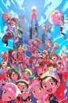 6+boys 6+girls :d ;d arm_up backwards_hat baseball_cap beanie bike_shorts black_wristband bow_hairband brendan_(pokemon) brown_eyes brown_hair calem_(pokemon) capri_pants chase_(pokemon) chin_stroking closed_eyes closed_mouth commentary crossed_arms dawn_(pokemon) elaine_(pokemon) elio_(pokemon) ethan_(pokemon) eyelashes eyewear_on_headwear gloria_(pokemon) green_bandana hairband hand_on_headwear hat highres hilbert_(pokemon) hilda_(pokemon) kris_(pokemon) leaf_(pokemon) long_sleeves looking_up lucas_(pokemon) lyra_(pokemon) may_(pokemon) mixar0807 multiple_boys multiple_girls nate_(pokemon) one_eye_closed open_mouth pants pokemon pokemon_(game) pokemon_bw pokemon_bw2 pokemon_dppt pokemon_emerald pokemon_gsc pokemon_oras pokemon_platinum pokemon_rgby pokemon_rse pokemon_sm pokemon_swsh pokemon_usum pokemon_xy red_(pokemon) red_bandana red_headwear rosa_(pokemon) selene_(pokemon) serena_(pokemon) shirt short_sleeves shorts smile standing striped striped_shirt sunglasses tam_o'_shanter teeth tongue v victor_(pokemon) visor_cap w white_headwear white_shorts wristband