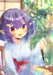 1girl :d abukuma_(azur_lane) azur_lane bangs blurry blurry_background blush breasts chair commentary_request depth_of_field ear_piercing eyebrows_visible_through_hair facial_mark fang hair_between_eyes hair_ornament hairclip hand_up horns japanese_clothes kimono kouu_hiyoyo long_sleeves looking_at_viewer on_chair open_mouth piercing pointy_ears purple_hair red_eyes sitting sleeves_past_wrists small_breasts smile solo white_kimono wide_sleeves