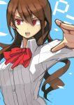 1girl bow breasts brown_hair kirijou_mitsuru long_hair open_mouth persona persona_3 red_eyes simple_background solo yuusuke_(5yusuke3)