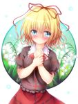1girl bangs blonde_hair blue_eyes blush commentary_request eyebrows_visible_through_hair flower frilled_shirt_collar frills hair_between_eyes hair_ribbon hands_on_own_chest highres lily_of_the_valley looking_at_viewer medicine_melancholy osashin_(osada) puffy_short_sleeves puffy_sleeves red_ribbon red_skirt ribbon short_hair short_sleeves skirt solo sweatdrop touhou