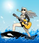 1girl absurdres acoustic_guitar bikini bikini_bottom black_bikini blonde_hair blue_sky braid clothes_writing commentary day english_commentary english_text floating_hair french_braid gogalking guitar highres holding holding_instrument instrument junior_(gogalking) lens_flare long_hair long_sleeves mouth_hold music ocean on_animal orca original outdoors party_horn playing_instrument profanity shirt sky solo standing sunglasses swimsuit water