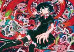 1girl abstract abstract_background bangs black_dress black_hair black_legwear bow bowtie collared_dress dress feet_out_of_frame hair_over_one_eye hito_(nito563) houjuu_nue red_neckwear short_hair short_sleeves solo thigh-highs touhou