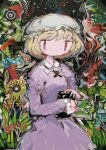 1girl abstract abstract_background blonde_hair book bug butterfly collared_dress dress flower frilled_hat frills hat hito_(nito563) holding holding_book insect long_sleeves maribel_hearn mob_cap purple_dress red_eyes short_hair solo touhou upper_body white_headwear yellow_flower