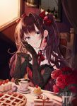 1girl absurdres bangs bare_shoulders black_gloves blush bow brooch brown_hair buri_(retty9349) cake cake_slice chair cherry cup dress elbow_gloves eyebrows_visible_through_hair flower food fruit gem gloves hair_bow hair_intakes head_tilt highres ichinose_shiki idolmaster idolmaster_cinderella_girls indoors jewelry long_hair looking_at_viewer neck_ribbon painting_(object) parted_lips pink_lips red_bow red_dress red_flower red_neckwear red_ribbon red_rose ribbon rose ruby_(gemstone) sitting sleeveless sleeveless_dress smile solo table teacup teaspoon twintails upper_body very_long_hair violet_eyes