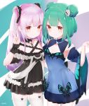 1girl 2girls absurdres animal_print blue_dress blue_eyes blush bow brooch butterfly_print double_bun dress dual_persona gothic_lolita green_hair hair_ornament highres hololive hololive_fantasy jewelry lolita_fashion long_hair looking_at_viewer multiple_girls pink_hair red_eyes shiomikaze short_hair skull_hair_ornament two_side_up uruha_rushia v virtual_youtuber