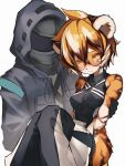 1boy 1girl absurdres animal_ears arknights bandaid bandaid_on_face black_gloves blonde_hair carrying closed_mouth commentary_request doctor_(arknights) eyebrows_visible_through_hair fur furrification furry glasses gloves hair_between_eyes highres hood looking_at_viewer princess_carry short_hair simple_background tab_head thick_eyebrows tiger_ears tiger_stripes waai_fu_(arknights) white_background yellow_eyes