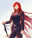 black_suit business_suit fate/grand_order fate_(series) formal hair_over_one_eye highres jacket long_hair looking_at_viewer necktie oda_nobunaga_(fate) oda_nobunaga_(fate)_(all) oda_nobunaga_(maou_avenger)_(fate) pant_suit red_eyes redhead shiobana smile solo suit sword weapon