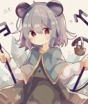 1girl animal_ears basket brown_dress brown_eyes capelet closed_mouth commentary_request cowboy_shot dated dowsing_rod dress eyebrows_visible_through_hair grey_hair hair_between_eyes holding jewelry long_sleeves looking_at_viewer medium_hair mina_(sio0616) mouse mouse_ears mouse_tail nazrin notice_lines pendant prism red_eyes simple_background smile solo standing star_(symbol) tail touhou white_background
