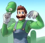 1boy big_nose blue_eyes blue_overalls blue_sky brown_hair commentary day english_commentary facial_hair gloves green_headwear green_sweater hat hat_removed headwear_removed highres luigi male_focus manly mario_(series) mountainous_horizon mustache sky solo sweat sweater thick_eyebrows turtleneck turtleneck_sweater wamudraws white_gloves wiping_sweat