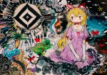 1girl abstract abstract_background black_cloud blonde_hair bow bug dress elbow_gloves expressionless gloves grass hat hito_(nito563) insect long_hair mob_cap purple_dress red_bow red_ribbon ribbon short_sleeves solo surreal touhou tree very_long_hair white_gloves white_headwear wide_shot yakumo_yukari yin_yang