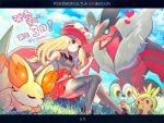 1girl artist_name bare_arms black_legwear blonde_hair blue_eyes blush chespin closed_mouth clouds commentary_request day eyewear_on_headwear fennekin froakie gen_6_pokemon grass hand_up hat heart holding legendary_pokemon n_kamui outdoors pleated_skirt pokemon pokemon_(game) pokemon_xy red_skirt serena_(pokemon) sitting skirt sky smile starter_pokemon_trio sunglasses thigh-highs translation_request yveltal
