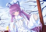 1girl animal_ears azur_lane bangs bare_tree blue_eyes blunt_bangs blush brown_sweater chinese_commentary clouds cloudy_sky coat commentary_request day earmuffs eyebrows_visible_through_hair fake_animal_ears fur-trimmed_coat fur-trimmed_sleeves fur_trim hair_ornament hair_ribbon highres long_hair long_sleeves looking_at_viewer manjuu_(azur_lane) parted_lips pom_pom_(clothes) purple_hair ribbon shenqi_(toid310) sidelocks sky sleeves_past_fingers sleeves_past_wrists snow solo standing sweater tashkent_(azur_lane) tree upper_body very_long_hair very_long_sleeves white_coat winter_clothes