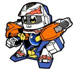 :3 b-daman bkub looking_ahead mecha mecha_request no_humans robot sketch solo toy white_background yellow_eyes