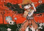 1girl abstract abstract_background black_hair black_wings brown_headwear character_request check_character cowboy_shot hat hito_(nito563) kurokoma_saki open_mouth red_eyes short_hair skull smile solo touhou wings