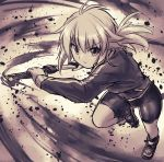 1girl antenna_hair bike_shorts blonde_hair drawing_sword green_eyes hand_on_weapon jacket koshirae_tsurugi m.m original ponytail short_sword sword track_jacket wakizashi weapon