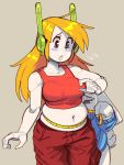 2girls android belly blonde_hair blue_eyes blush breasts cargo_pants commentary curly_brace doukutsu_monogatari english_commentary furry jitome medium_breasts mimiga multiple_girls navel pants red_pants robot_ears sakamoto_sue source_request tank_top tape_measure wamudraws weight_conscious white_skin