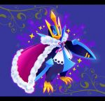 blue_eyes cape claws commentary_request empoleon fur-trimmed_cape fur_trim gen_4_pokemon hasuba. looking_at_viewer pink_ribbon pokemon pokemon_(creature) ribbon solo sparkle