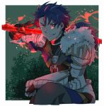1boy armor blue_hair cu_chulainn_(fate)_(all) cu_chulainn_(fate/prototype) earrings fate/prototype fate_(series) fur gae_bolg gauntlets gloves glowing glowing_weapon grin holding holding_weapon hoop_earrings jewelry long_hair male_focus necklace polearm ponytail red_eyes smile solo spear spiky_hair tozakuro_s type-moon weapon