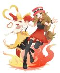 1girl absurdres black_footwear black_legwear blue_eyes bracelet braixen brown_hair commentary_request eyelashes eyewear_on_headwear gen_6_pokemon hat heart highres holding_hands jewelry leg_up long_hair open_mouth pokemon pokemon_(creature) pokemon_(game) pokemon_xy red_skirt redcat13 serena_(pokemon) shoes skirt spread_fingers sunglasses teeth thigh-highs tied_hair tongue