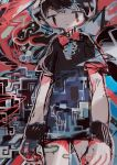 1girl abstract abstract_background bangs black_dress black_hair bow bowtie cowboy_shot dress highres hito_(nito563) houjuu_nue red_eyes red_neckwear short_hair short_sleeves solo touhou