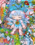 1girl abstract abstract_background bangs blue_bow blue_dress blue_hair blunt_bangs bow cirno closed_eyes colorful dress flower hair_bow hito_(nito563) ice ice_wings no_nose red_flower short_hair short_sleeves solo sunflower touhou wings yellow_flower