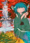 1girl abstract_background bangs drill_hair eyebrows_visible_through_hair frilled_kimono frills green_kimono head_fins hito_(nito563) holding japanese_clothes kimono long_sleeves mermaid monster_girl obi sash sitting solo touhou wakasagihime wide_sleeves