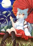 1girl :< animal_ear_fluff animal_ears bangs bare_shoulders black_legwear blush breasts clouds commentary_request crossed_bangs dango detached_sleeves dutch_angle expressionless eyebrows_visible_through_hair feet_out_of_frame food full_moon grass hat inubashiri_momiji looking_at_viewer medium_breasts moon night orange_eyes oriental_umbrella pleated_skirt pom_pom_(clothes) red_footwear red_headwear red_skirt ribbon-trimmed_sleeves ribbon_trim rururiaru shirt short_hair sitting skirt sky sleeves_past_wrists solo star_(sky) starry_sky tail tokin_hat touhou turtleneck umbrella wagashi white_hair white_shirt wide_sleeves wolf_ears wolf_tail