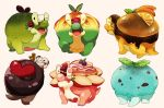 appletun closed_eyes commentary_request food fruit gen_8_pokemon happy heart leaf looking_at_viewer mint no_humans one_eye_closed open_mouth orange pokemon pokemon_(creature) sana_(sanaa653) tail tongue white_background