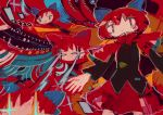 1girl abstract abstract_background black_shirt blue_bow bow capelet colorful disembodied_head eye_beam floating_head hair_bow hito_(nito563) long_sleeves multiple_heads no_mouth no_nose red_capelet red_eyes red_skirt redhead ribbon_trim sekibanki shirt short_hair skirt smile solo touhou