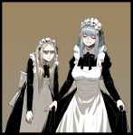 2girls alternate_costume angry apron black_border black_dress black_neckwear black_ribbon blonde_hair blue_hair border brown_background closed_eyes closed_mouth dress dress_grab earrings enmaided eyebrows_visible_through_hair gogalking grey_eyes head_tilt highres jewelry juliet_sleeves leonir_(gogalking) long_hair long_sleeves maid maid_apron maid_headdress multiple_girls neck_ribbon ophelia_(gogalking) original puffy_sleeves ribbon simple_background smile standing white_apron