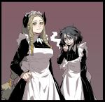 2girls alternate_costume apron black_border black_dress blonde_hair border braid brakka_(gogalking) cigarette closed_mouth dress earrings enmaided fingernails gogalking grey_hair hair_between_eyes hair_tubes hand_on_hip highres holding holding_cigarette hoop_earrings horizontal_pupils horns jewelry jitome juliet_sleeves lender_gregory_(gogalking) long_hair long_sleeves maid maid_apron maid_headdress multiple_girls orange_eyes original puffy_sleeves red_background side_braids simple_background single_braid smile smoke smoking standing very_long_hair white_apron yellow_eyes