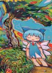 1girl apple aqua_hair blue_bow blue_dress bow cirno closed_eyes collared_dress dress flower food fruit grass hair_bow hito_(nito563) ice ice_wings no_nose outdoors red_flower red_neckwear red_ribbon ribbon shadow short_hair short_sleeves smile solo standing surreal touhou tree wide_shot wings