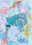 1girl abstract_background blue_hair colorful drill_locks fish frilled_kimono frills green_kimono head_fins hito_(nito563) japanese_clothes kimono long_sleeves medium_hair mermaid monster_girl obi sash scales solo touhou wakasagihime wide_sleeves