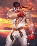 1boy abs bara bare_shoulders belt black_belt black_hair boxing_gloves chest feet_out_of_frame headband male_focus muscle nipples open_clothes patreon_username ryuu_(street_fighter) short_hair silverjow sleeveless street_fighter sunset thick_eyebrows thick_thighs thighs torn_clothes veins