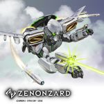 aiming arm_cannon bandai battle clouds commentary commentary_request condensation_trail energy_beam energy_cannon firing flying igunuk mecha missile missile_pod original realistic science_fiction weapon wings zenonzard