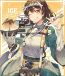 1girl ;) ;q absurdres alternate_costume arknights bangs bowl brown_eyes brown_hair commentary_request gloves hachimaki hands_up headband highres holding holding_bowl kikan_(kikanoe) looking_at_viewer magallan_(arknights) multicolored_hair nejiri_hachimaki one_eye_closed shirt short_hair single_glove smile solo streaked_hair tongue tongue_out upper_body white_hair white_shirt