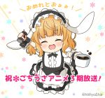 1girl :d ^_^ animal_ears apron bangs black_footwear black_hairband black_skirt blonde_hair blush can canned_coffee center_frills closed_eyes coffee commentary_request cup eyebrows_visible_through_hair facing_viewer fake_animal_ears fleur_de_lapin_uniform floppy_ears floral_background frilled_apron frilled_hairband frilled_skirt frills full_body gochuumon_wa_usagi_desu_ka? hairband holding holding_can holding_cup kirima_sharo miicha open_mouth pantyhose puffy_short_sleeves puffy_sleeves rabbit_ears shirt shoes short_sleeves skirt smile solo translation_request twitter_username waist_apron white_apron white_background white_legwear white_shirt wrist_cuffs