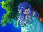 1girl arms_behind_back blue_eyes blue_hair day dress from_below furude_rika higurashi_no_naku_koro_ni long_hair looking_at_viewer looking_down open_mouth outdoors ponyomaro_daikon pov shadow smile solo sundress tree