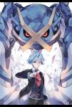 1boy blue_eyes blue_hair closed_mouth collared_shirt commentary_request dated gen_3_pokemon hand_up highres holding holding_poke_ball jacket kabocha_torute long_sleeves metagross open_clothes open_jacket pants poke_ball poke_ball_(basic) pokemon pokemon_(creature) pokemon_(game) pokemon_oras red_neckwear shirt spiky_hair steven_stone vest watermark white_shirt