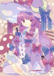 1girl :t blue_bow bow braid commentary crescent crescent_moon_pin dress frilled_dress frills hair_bow hat hat_bow highres long_hair long_sleeves mushroom nikorashi-ka patchouli_knowledge polka_dot polka_dot_background purple_dress purple_hair purple_headwear purple_legwear red_bow sitting solo striped striped_legwear thigh-highs touhou twin_braids violet_eyes witch_hat yokozuwari