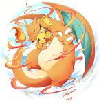 azuma_minatsu charizard claws closed_mouth commentary_request fire gen_1_pokemon no_humans pikachu pokemon pokemon_(creature) pokemon_on_arm smile tail wings yellow_eyes